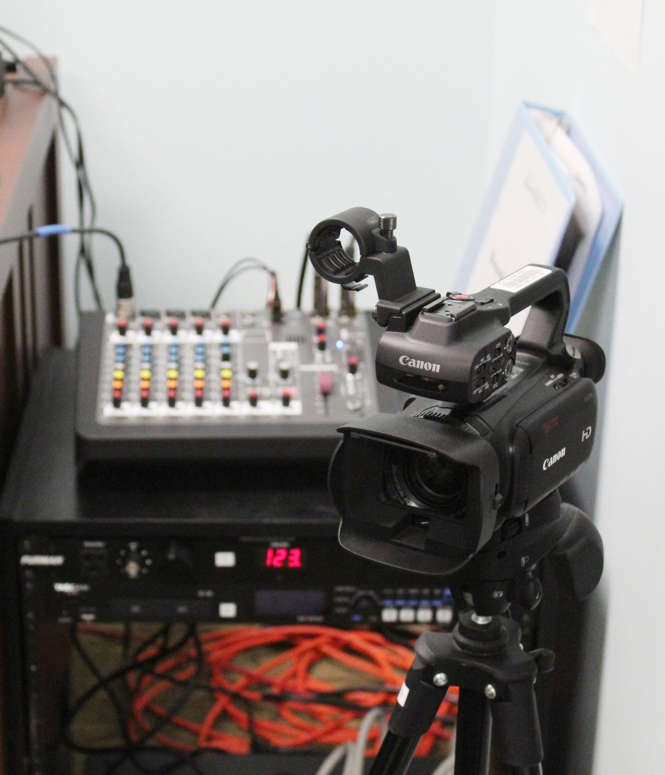 Recording studio equipment has variety of equipment