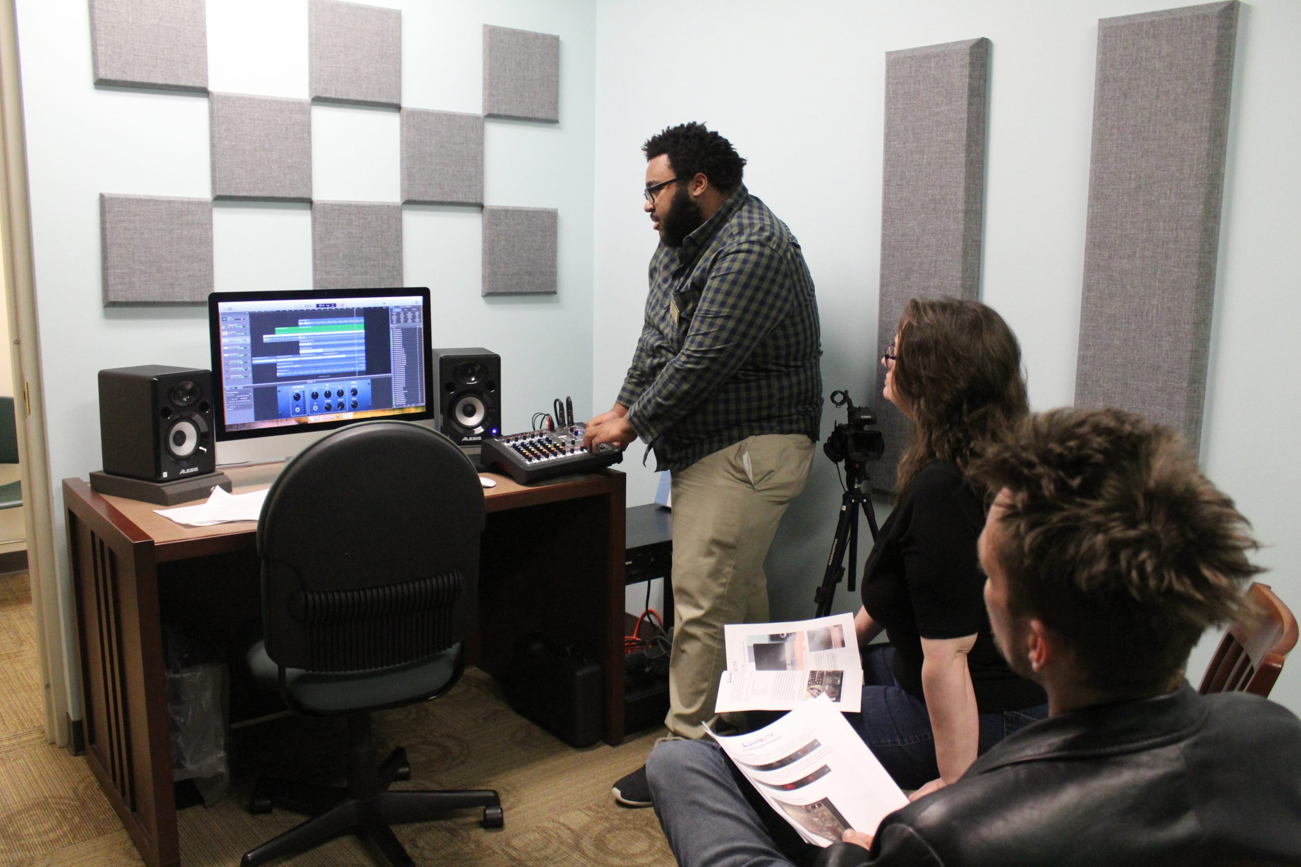 Recording Studio Orientation class located inside the library