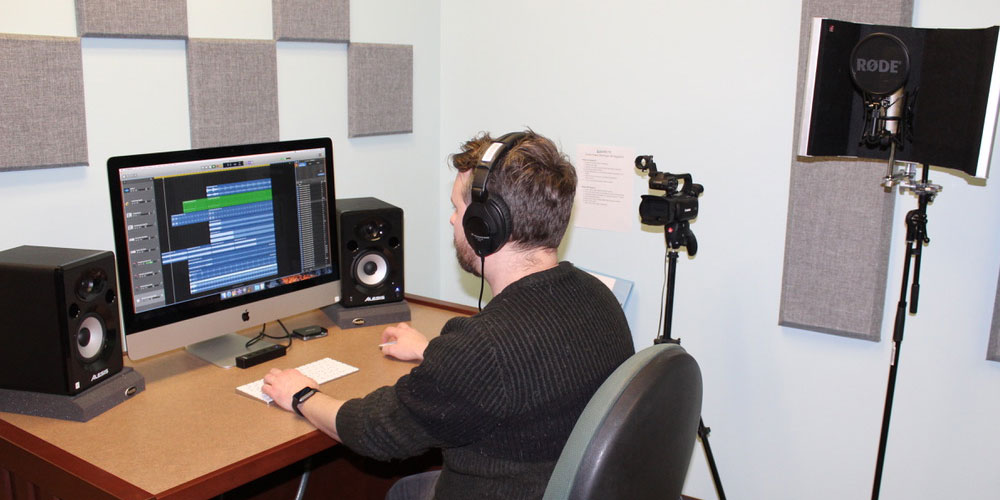 Recording Studio located inside the Library to record music or video