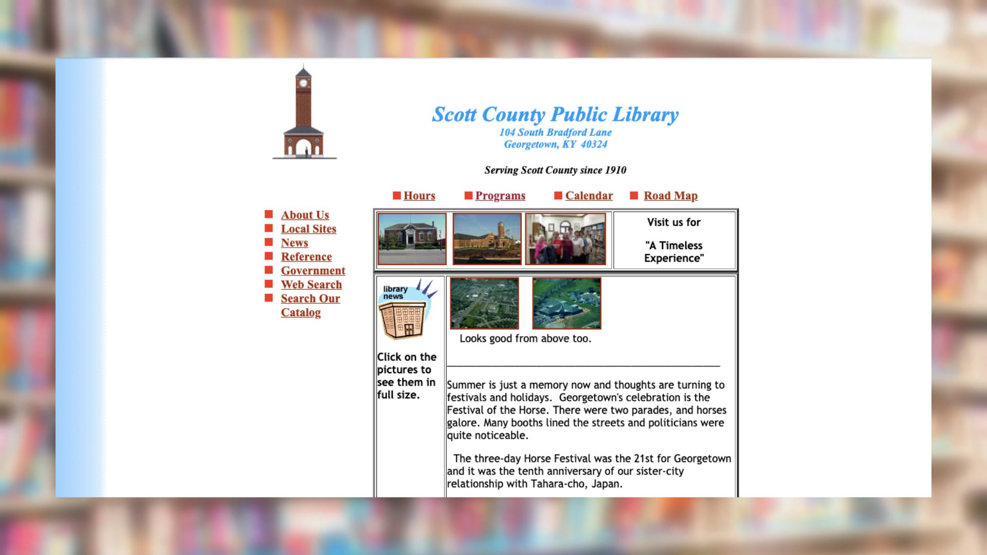 Scott County Public Library Archived Website in 2001