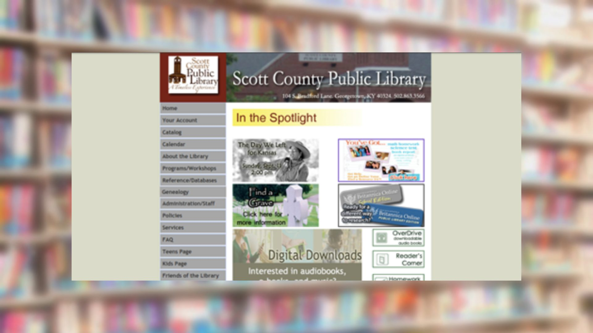 Scott County Public Library Archived Website in 2011