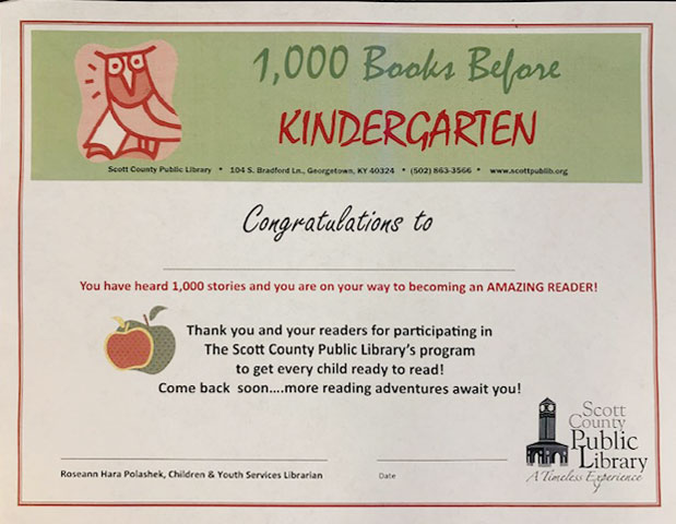 1000 books read before kindergarten certificate